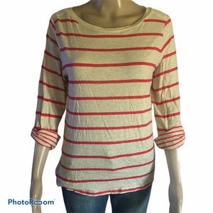 JCP striped roll tab sleeve top